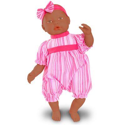 Boneca-Bebe---Baby-By-Jensen---Negra---Macaquinho-Rosa-Listrado---Roma-Jensen