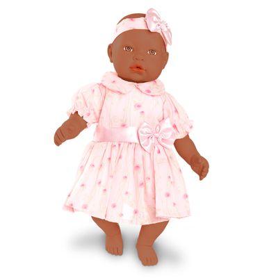 Boneca-Bebe---Baby-By-Jensen---Negra---Vestido-Rosa-Claro-com-Flores---Roma-Jensen