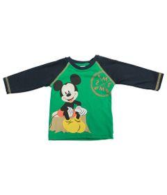 Camiseta-Manga-Longa-em-Meia-Malha---Verde-e-Marinho---Floresta-Mickey---Disney---P