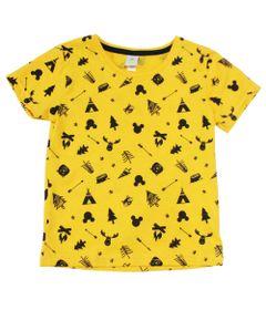 Camiseta-Manga-Curta-em-Meia-Malhada---Amarela---Floresta-Mickey---Disney---1