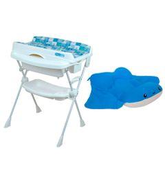 Kit-Banheira-com-Trocador---Millenia---Peixinho-Azul-e-Almofada---Arraia-Oliver