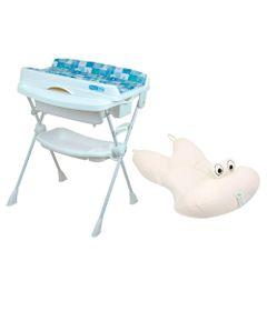 Kit-Banheira-com-Trocador---Millenia---Peixinho-Azul-e-Almofada---Bege