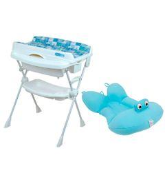 Kit-Banheira-com-Trocador---Millenia---Peixinho-Azul-e-Almofada---Azul
