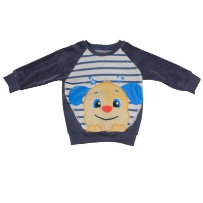Blusao-Manga-Longa-em-Plush---Cachorro---Azul-Marinho-e-Branco---Fisher-Price---2