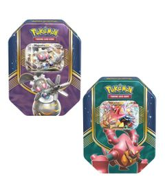 Kit-com-2-Decks-Lata-Pokemon-EX---Batalha-do-Coracao---Magearna-e-Volcanion---Copag