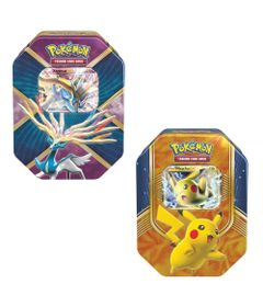 Kit-com-2-Decks-Lata-Pokemon-EX---Batalha-do-Coracao---Pikachu-e-Xerneas---Copag