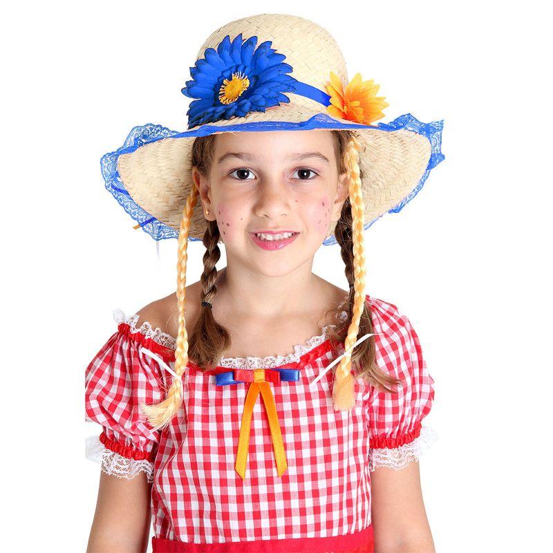 19c49e0b06daf2 Fantasia - Festa Junina - Chapéu Caipira Luxo - Flores - Com Trança - Azul  - Sulamericana