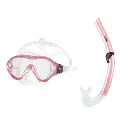 Conjunto-de-Mergulho---Mascara-e-Snorkel---Scuba---Rosa---Speedo