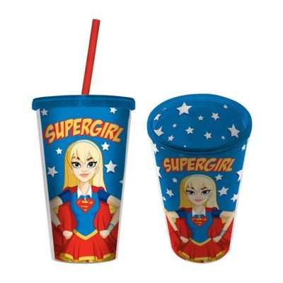 Copo-com-Canudo---500-Ml---DC-Comics---Super-Hero-Girls---Supergirl---Urban