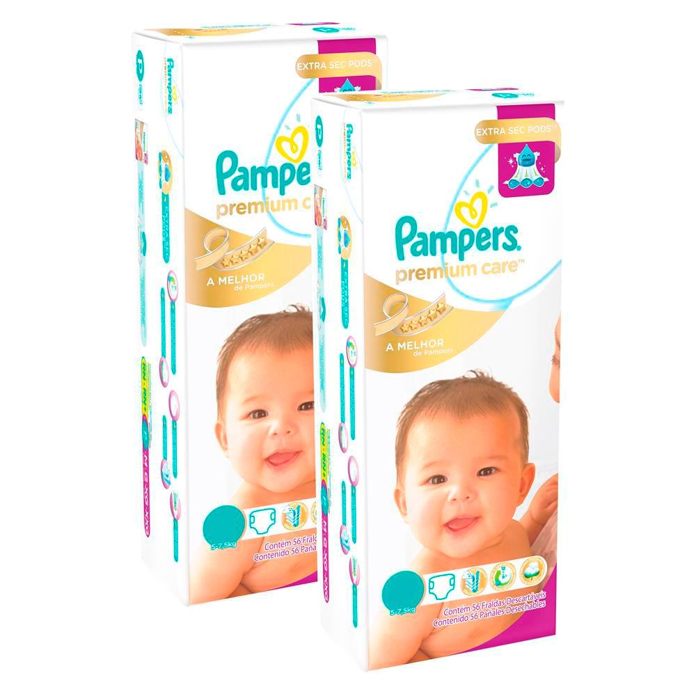 Kit de Fraldas Descartáveis - Premium Care Mega - Pack com 2 - Pampers