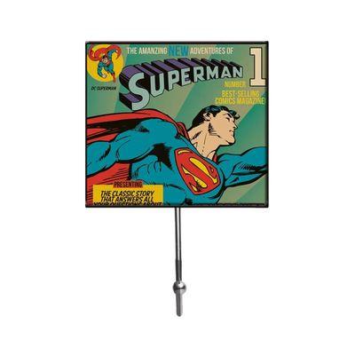 Cabideiro-de-Vidro-com-1-Gancho---DC-Comics---Super-Homem-Voando---13x21cm---Colorido---Metropole