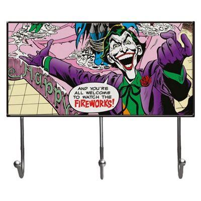Cabideiro-de-Vidro-com-3-Ganchos---DC-Comics---Coringa---40x23cm---Colorido---Metropole