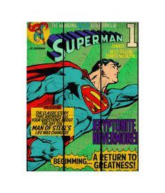 Placa-de-Madeira-Decorativa---DC-Comics---Super-Homem-Voando---Azul---Metropole