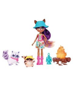 Boneca-Articulada---15-Cm---Enchantimals---Acampamento---Raelin-Raccoon-Pester-e-Romy---Mattel
