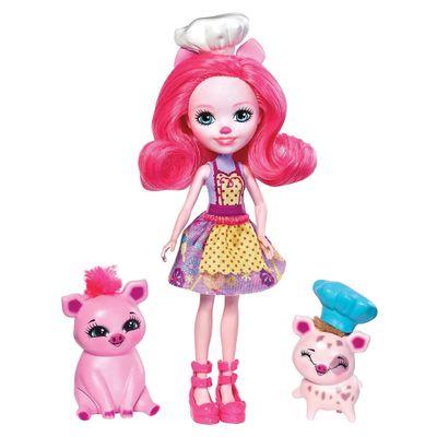 Boneca-Articulada---15-Cm---Enchantimals---Hora-de-Cozinhar---Petya-Pig-Streusel-e-Nisha---Mattel