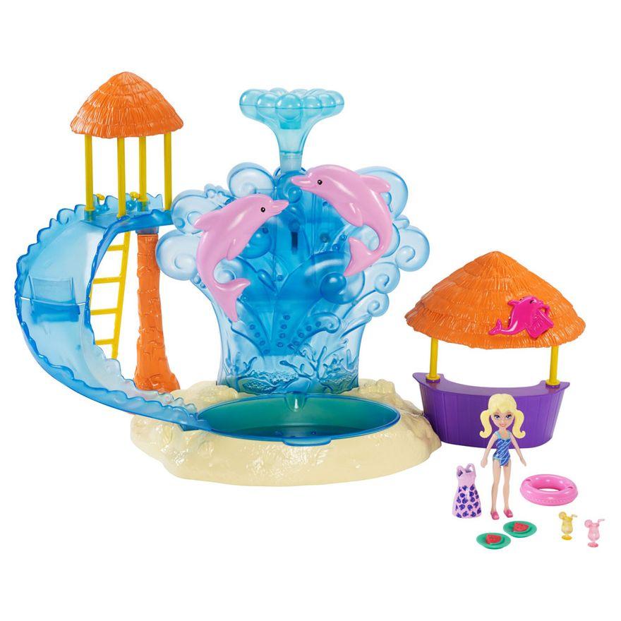 Playset-e-Mini-Boneca---Polly-Pocket---Parque-Aquatico-e-Golfinhos---Mattel