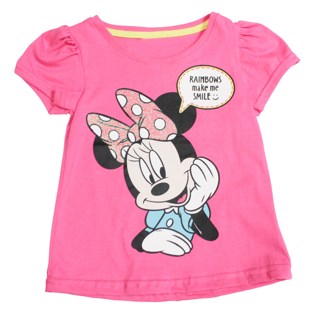 Blusa Manga Curta - Meia Malha - Rosa Glitter - Minnie Mouse - Disney