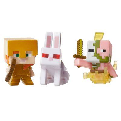 Figuras-Minecraft---Pack-com-3---Serie-5-Gelo---Coelho-Assassino---Porco-Zumbi---Alex---Mattel