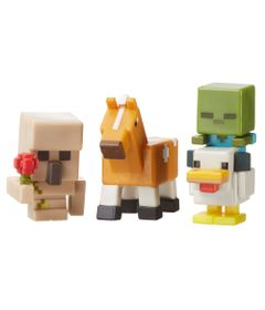 Figuras-Minecraft---Pack-com-3---Serie-5-Gelo---Golem-de-Ferro---Frango-Zumbi---Cavalo---Mattel