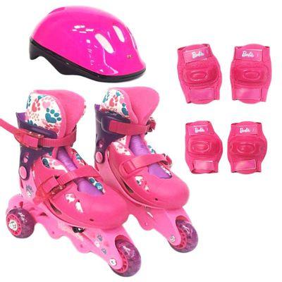 Patins-Ajustaveis-com-Kit-de-Seguranca---3-Rodas---Tamanho-29-a-32---Barbie---Rosa---Fun