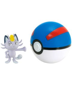 Mini-Figura-Pokemon-e-Pokebola-com-Clip---Alolan-Meowth-e-Great-Ball---Sunny