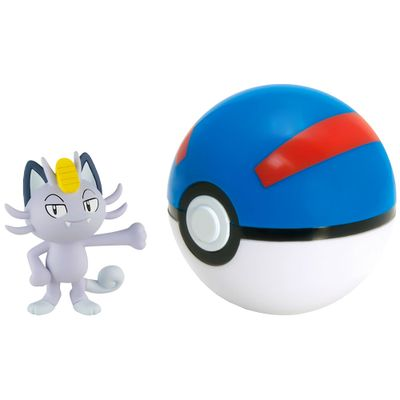 Mini-Figura-Pokemon-e-Pokebola-com-Clip---Alolan-Meowth-e-Great-Ball---Sunny