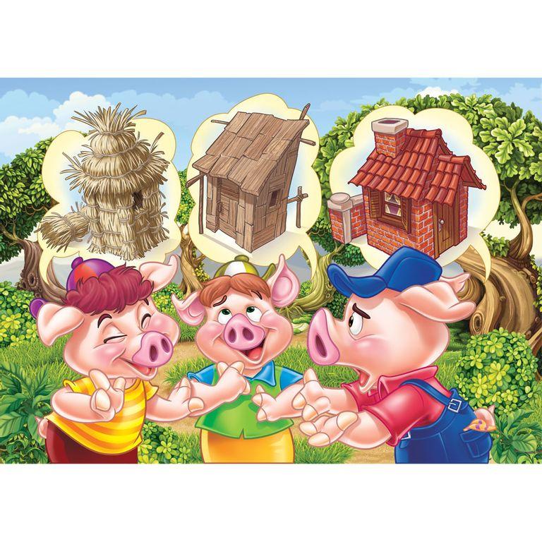 Quebra Cabeca Progressivo Os Tres Porquinhos Grow Ri Happy