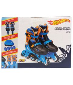 Patins-Ajustaveis-com-Kit-de-Seguranca---4-Rodas---Tam-33-a-36---Hot-Wheels---Azul-e-Laranja---Fun