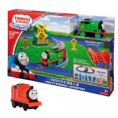 Kit-Playset-e-Mini-Veiculos---Thomas---Friends---Percy-e-o-Moinho-de-Vento-com-James---Fisher-Price