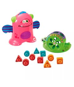 Kit-de-Figuras-de-Encaixe---Caracol-e-Monstrinhos-Animados---Rosa---Fisher-Price