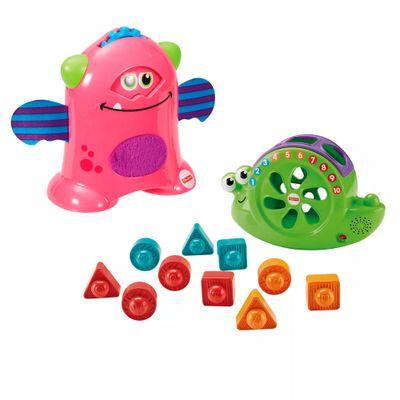 Kit-de-Figuras-de-Encaixe---Caracol-e-Monstrinhos-Animados---Rosa---Fisher-Price