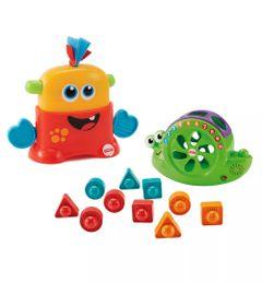 Kit-de-Figuras-de-Encaixe---Caracol-e-Monstrinhos-Animados---Vermelho-e-Laranja---Fisher-Price