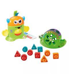 Kit-de-Figuras-de-Encaixe---Caracol-e-Monstrinhos-Animados---Verde-e-Laranja---Fisher-Price
