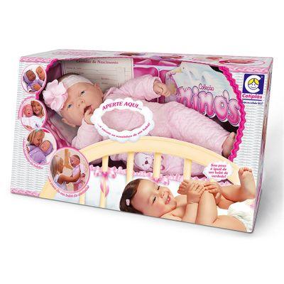 Boneca-Bebe-Sorrindo---Colecao-Ninos---Macacao-Rosa-com-Guarda-Chuva---Cotiplas_Frente