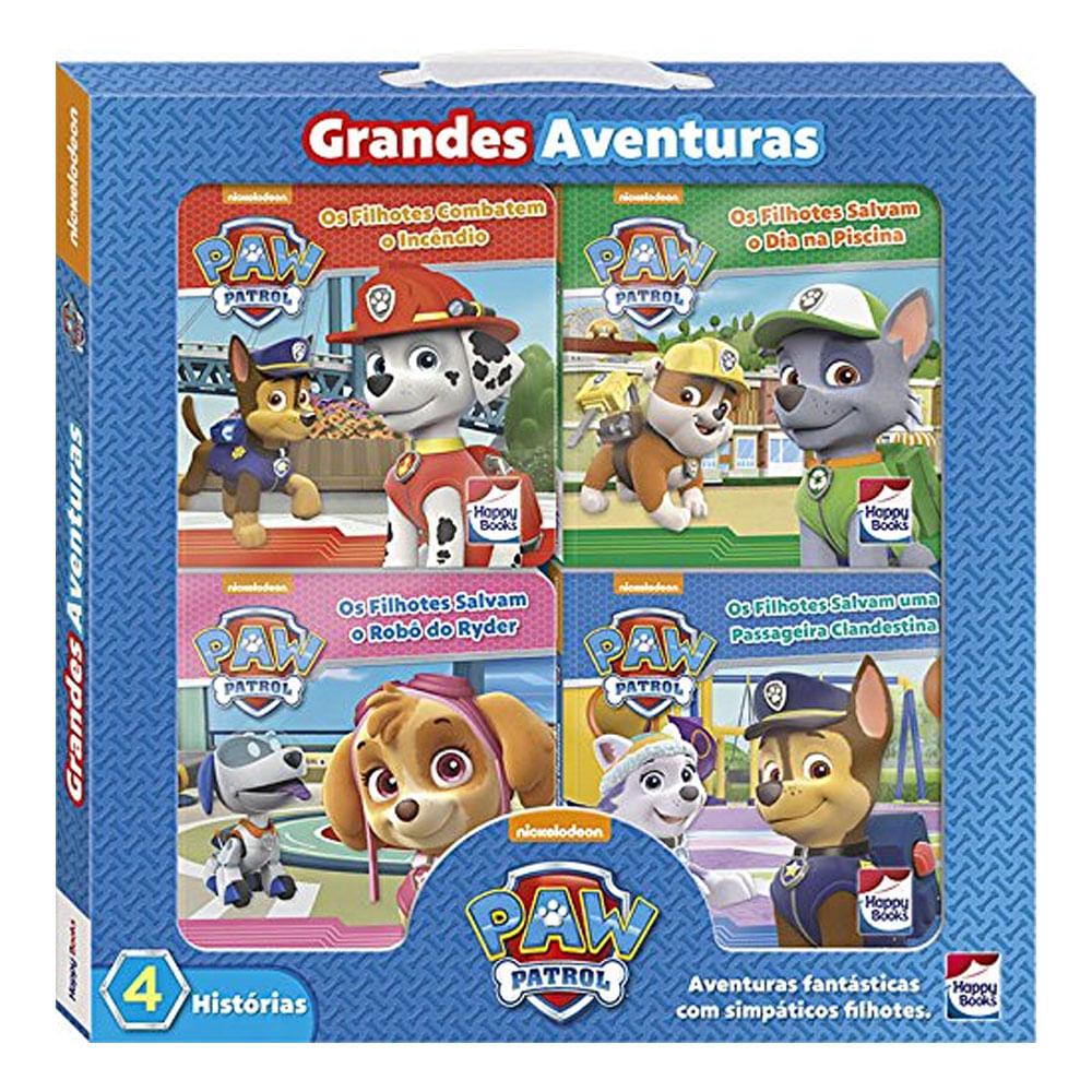 Livro Infantil - 4 Unid. - Patrulha Canina - Histórias com Figuras - Grandes Aventuras - Happy Books