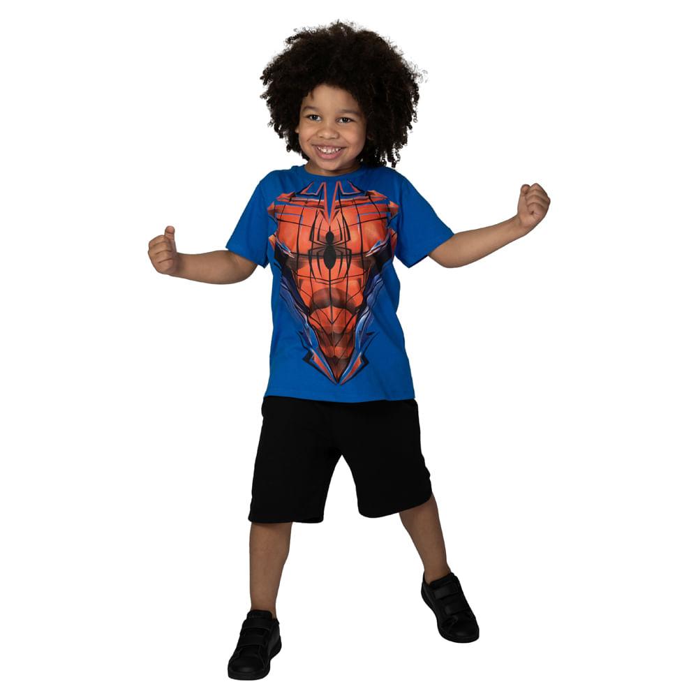 Camiseta Manga Curta - Meia Malha - Azul Royal - Marvel - Spider-Man - Disney