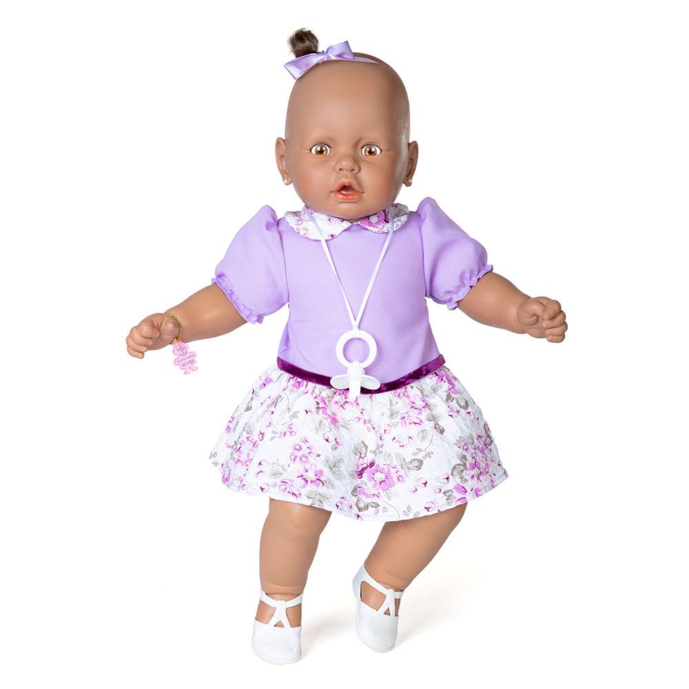 Boneca - Meu Bebê Negro - Vestido Lilás - Estrela