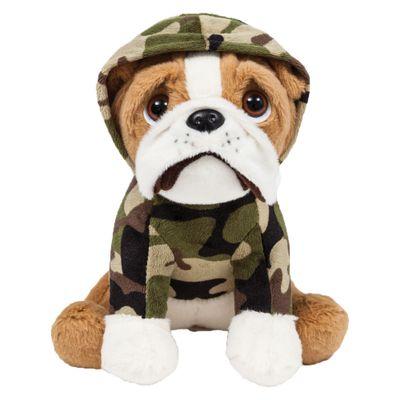 Pelucia---22-Cm---Cachorrinho---Bulldog-Sentado---Militar---Buba