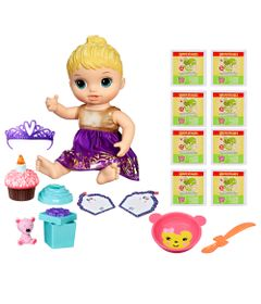 Kit-Boneca-Baby-Alive-e-Acessorios---Festa-Surpresa-e-Refis-de-Comida-com-8Un---Loira---E0596---Hasbro