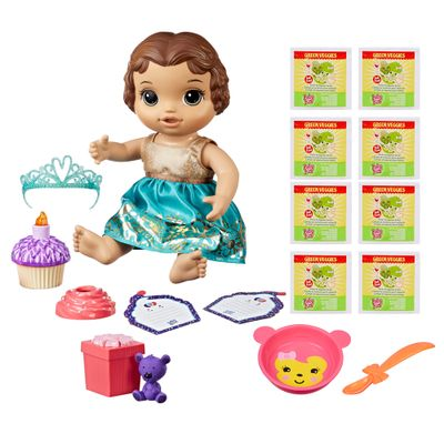 Kit-Boneca-Baby-Alive-e-Acessorios---Festa-Surpresa-e-Refis-de-Comida-com-8Un---Morena---E0597---Hasbro
