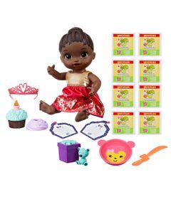 Kit-Boneca-Baby-Alive-e-Acessorios---Festa-Surpresa-e-Refis-de-Comida-com-8Un---Negra---E0292---Hasbro