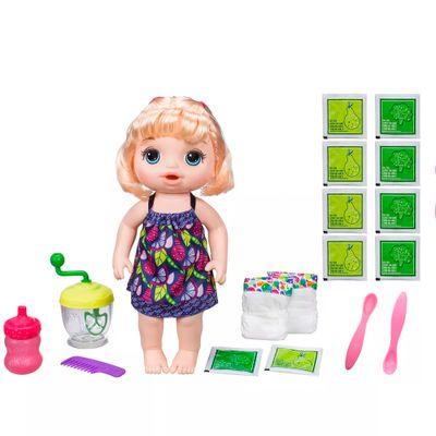 Kit-Boneca-Baby-Alive-e-Acessorios---Papinha-Divertida-e-Refil-de-Comida---Loira---E0586---Hasbro