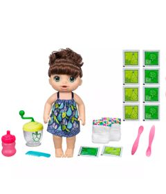 Kit-Boneca-Baby-Alive-e-Acessorios---Papinha-Divertida-e-Refil-de-Comida---Morena---E0587---Hasbro