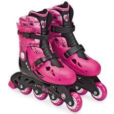 Patins-Ajustaveis-com-Kit-de-Seguranca---4-Rodas---Tamanho-33-a-36---Barbie---Rosa-e-Vinho---Candide