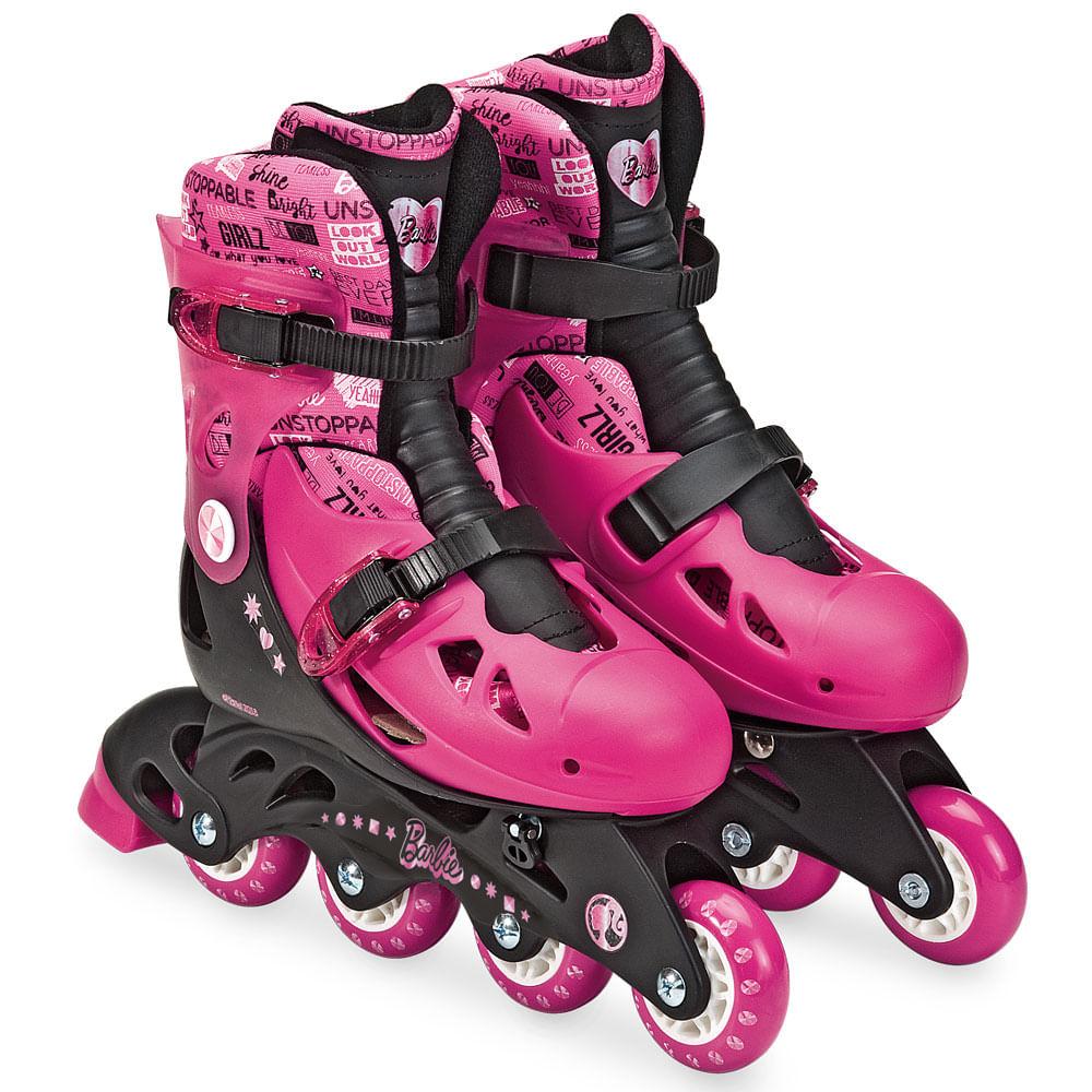 Patins Ajustáveis com Kit de Segurança - 4 Rodas - Tamanho 33 a 36 - Barbie - Rosa e Vinho - Candide