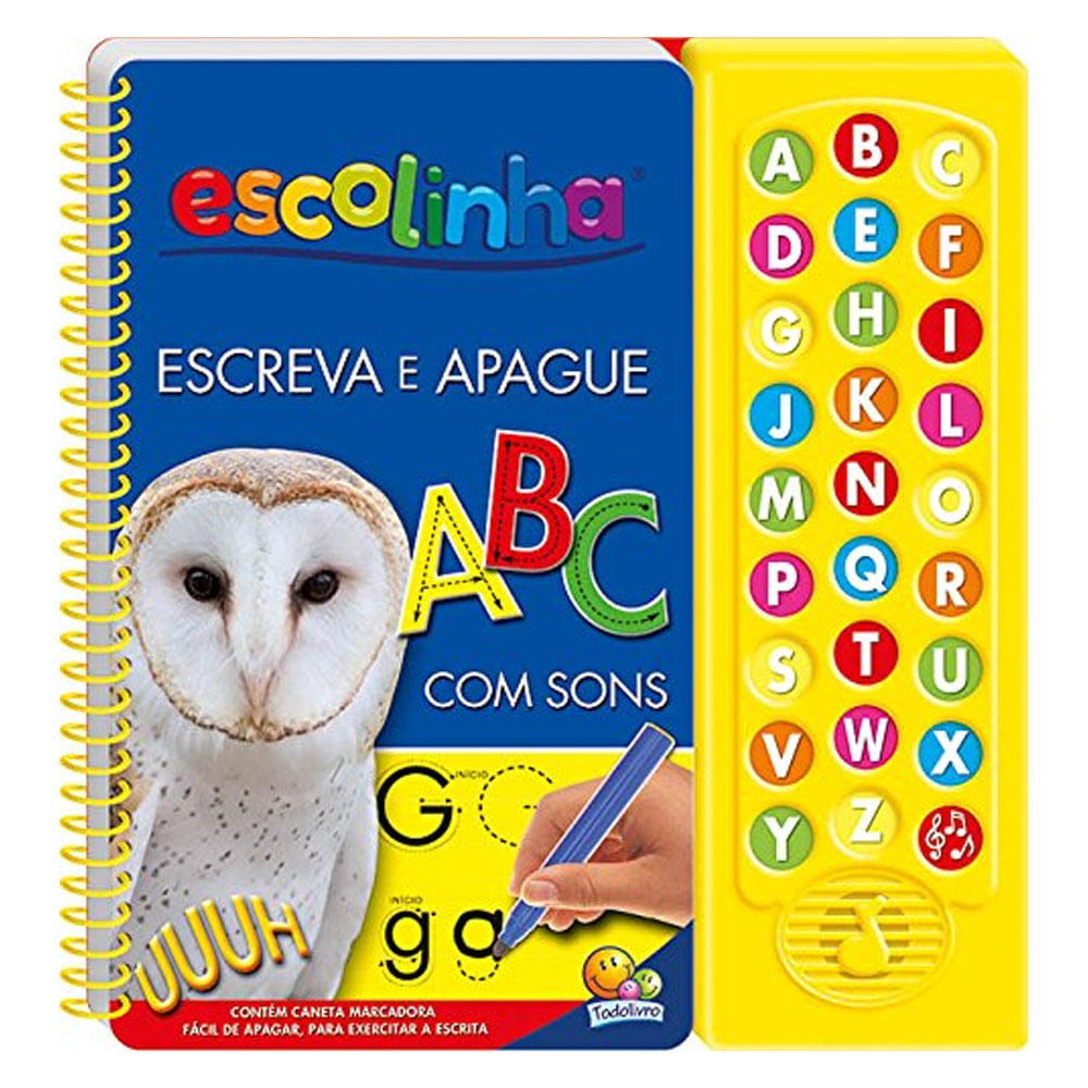 Livro com Sons - Escreva e Apague ABC - TodoLivro