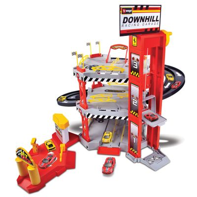 Playset-e-Pista-de-Percurso---Ferrari-Race---Play---Downhill-Racing-Garage---Maisto