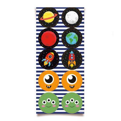 Acessorios-para-Festa---Adesivo-Decorativo---Redondo---Astronauta---30-Un---Cromus
