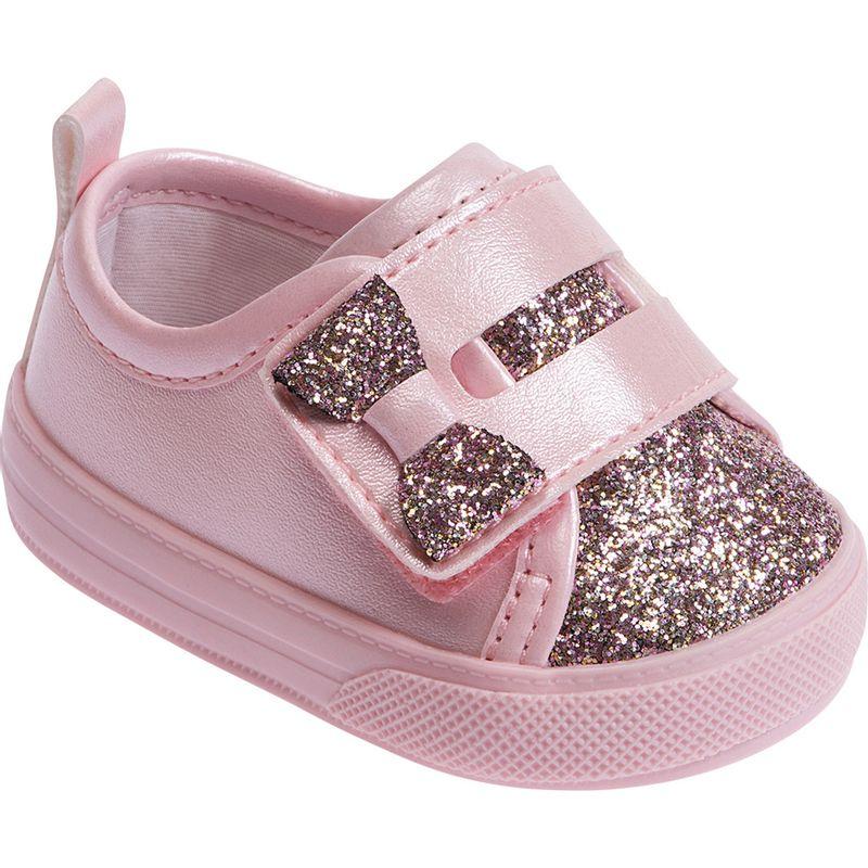 Tênis para Bebês - Feminino - Rosa Glitter - Pimpolho - PBKIDS b83d3f3d574f6