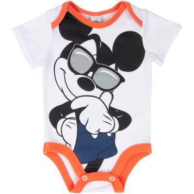 Body-Manga-Curta---Algodao---Branco-e-Laranja---Mickey-Mouse---Disney---P